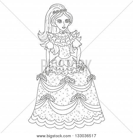 Beautiful princess, cute princess in shining dress with spangles, vector illustration, coloring book page for children