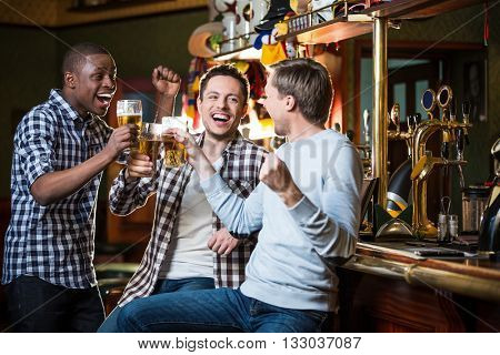 Sports fans with beer