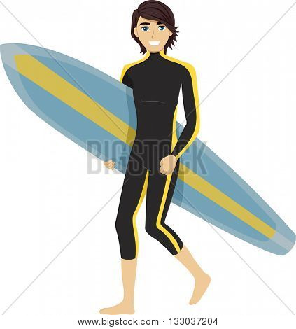 Illustration of a Teenage Boy Carrying a Surfboard