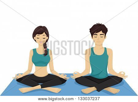 Illustration of a Teenage Couple Doing Yoga Together
