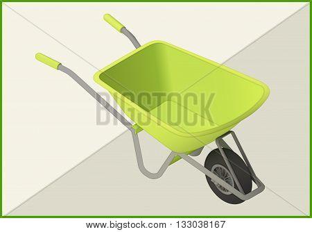 wheelbarrow isolated on white background. hand-barrow isometric flat vector 3d illustration