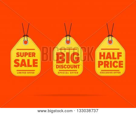 Sale tag vector isolated. Sale sticker with special advertisement offer. Big discount tag. Half price tag.