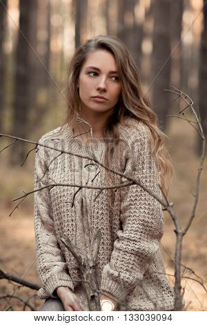Portrait of beautiful, attractive, sad, upset, unhappy girl. Beautiful, attractive, adorable, lovely, cute, nice, pretty, lovely girl think about something, worry about problems, dreams. Thinker. Sorrowful, depressed.