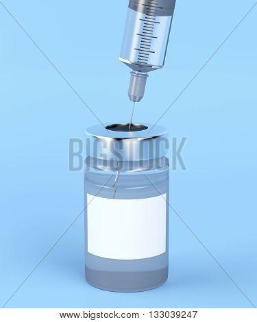 Close-up image of medical vial and syringe, 3D illustration