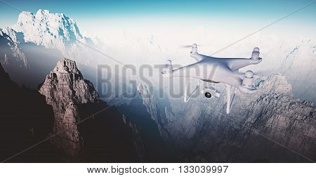 Image White Matte Generic Design Modern Remote Control Drone with action camera Flying Sky under Earth Surface. Grand Canyon Background. Wide, front side angle view. Film Effect. 3D rendering