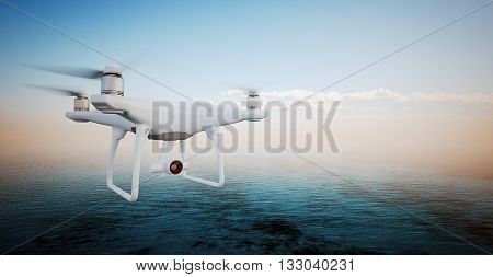 Photo White Matte Generic Design Modern Remote Control Drone action camera Flying in Sky under Water Surface. Ocean Sunrise Background. Horizontal, front side view.Film Effect. 3D rendering