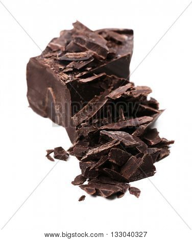 Broken chunk of chocolate isolated on white