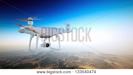 Photo White Matte Generic Design Air Drone with action camera Flying Sky under Earth Surface.Uninhabited Desert Mountains Sunset Background.Horizontal, front side angle view.Film Effect. 3D rendering