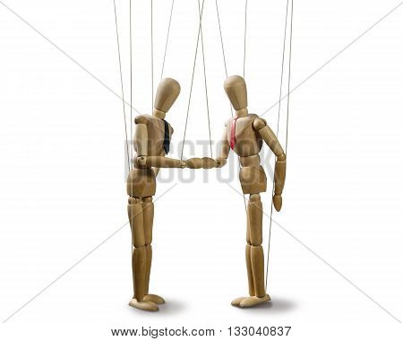 two puppets shakes hands at the conclusion of the deal on white isolated backgroung