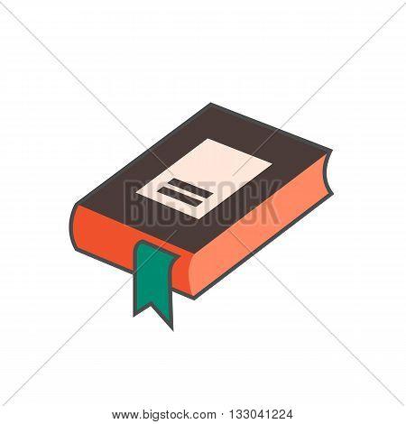 Book with bookmark vector icon. Colored line icon