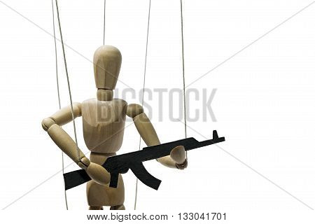 A puppet with gun on the isolated white background