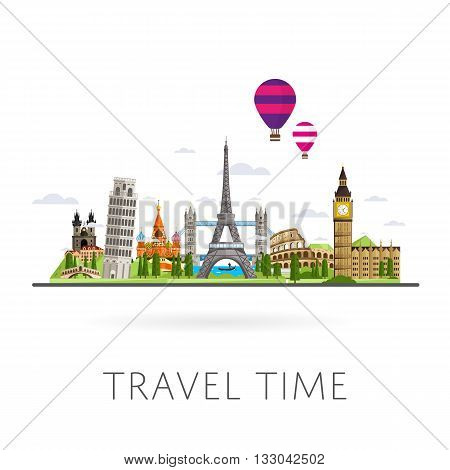 poster of World travel and tourism concept flat vector. Famous world buildings. World travel landmark and famous travel place. Vacation travel architecture in cartoon style. World travel background. Travel banners. Travel background for traveling agency. Travel.