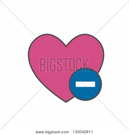 Heart with minus sign vector icon. Symbol of deleting from favorites