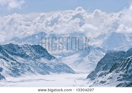Great Aletsch glacier with Cloudy Pattern at JungFrau