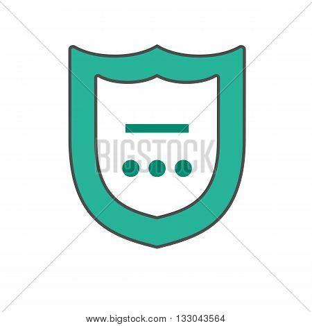 Shield vector icon. Colored line illustration of shield