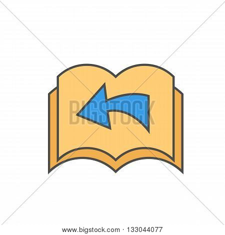 Turning page vector icon. Colored line illustration of pages with arrow