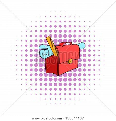 School briefcase bag with stationery icon in comics style on a white background