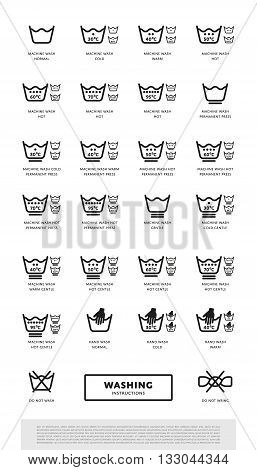 Laundry washing symbols icon set, vector illustration