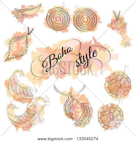Vector set with ornaments. Hand made jewelery. Boho style. Ethnic jewelry. With feathers crystals and beads