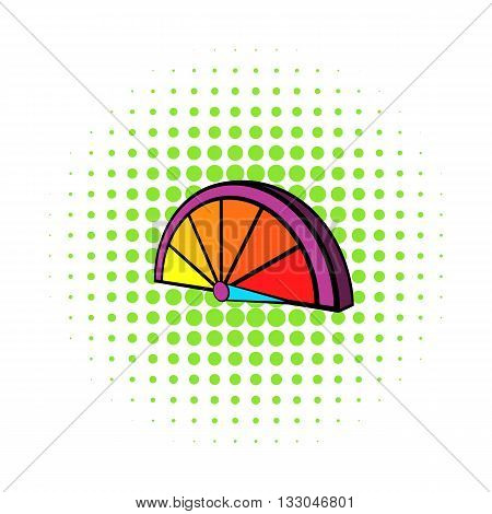 Colorful tachometer icon in comics style on a white background
