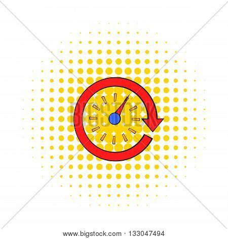 Red speedometer icon in comics style on a white background