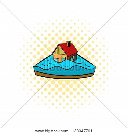 House sinking in a water icon in comics style on a white background