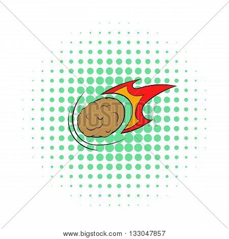 Falling meteor with long tail icon in comics style on a white background