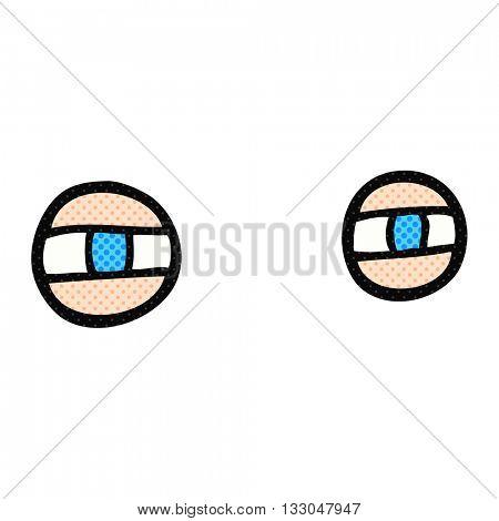 freehand drawn cartoon scowling eyes