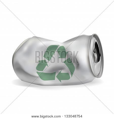 jammed aluminum can eps10 vector isolated on white