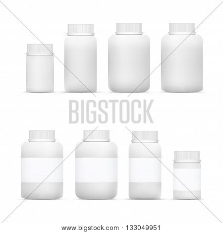 Vector Blank Big Set of Plastic Packaging Bottles with Cap for Cosmetics Vitamins Pills or Capsules eps10 vector