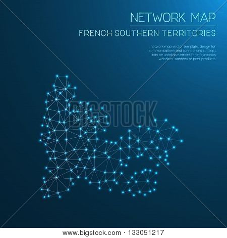 French Southern Territories Network Map. Abstract Polygonal Map Design. Internet Connections Vector