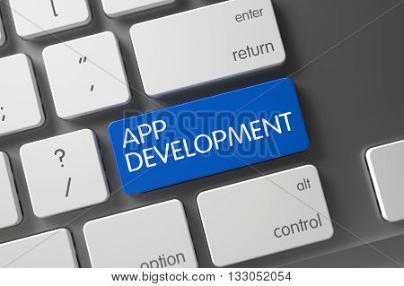Metallic Keyboard with the words App Development on Blue Key. Concept of App Development, with App Development on Blue Enter Button on Aluminum Keyboard. 3D Render.