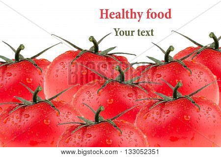 Border of tomato on a white background. Group of frech tomatoes. Macro. Texture. Isolated. Tomato pattern. Food background.