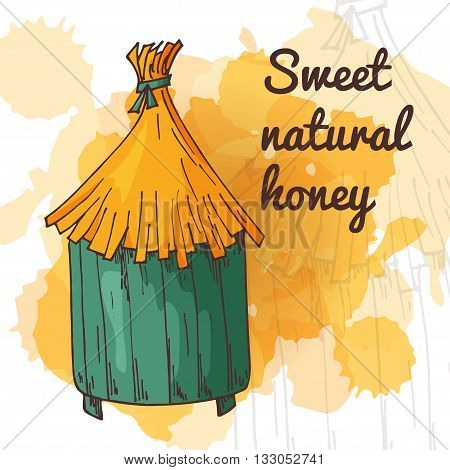 Honey element in hand drawn style. Natural product. Apiary isolated symbol. Vector illustration