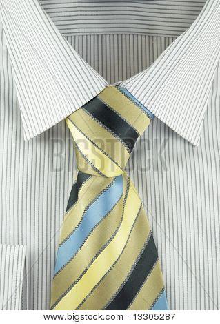 Shirt With Striped Silk Necktie