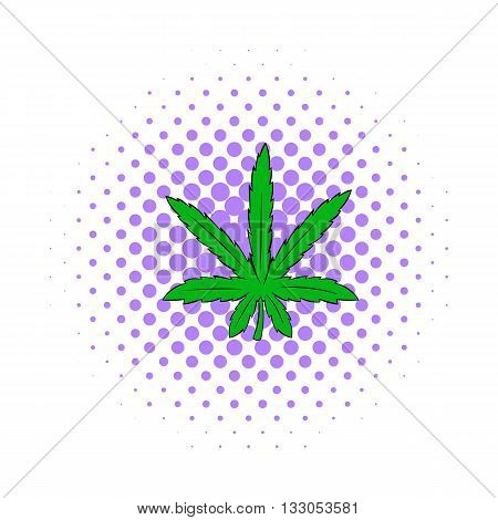 Marijuana leaf icon in comics style on a white background