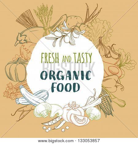 Vector illustration Fresh organic spring summer vegetables frame. Contour design on white background. Vegetarian menu, fruits and vegetables background, vegetables market flyer