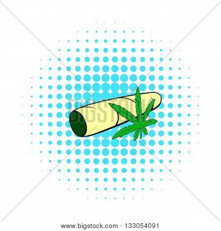 Marijuana joint icon in comics style on a white background