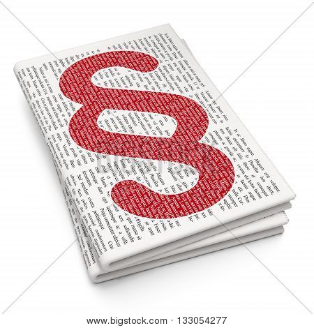 Law concept: Pixelated red Paragraph icon on Newspaper background, 3D rendering
