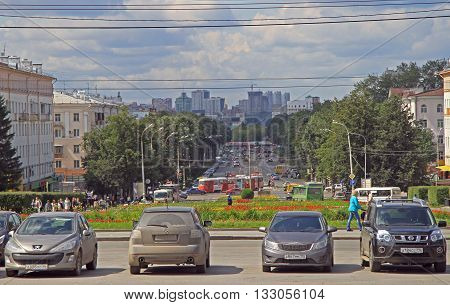 Yekaterinburg Russia - July 20 2015: people are moving by and along Lenin avenue in Yekaterinburg Russia