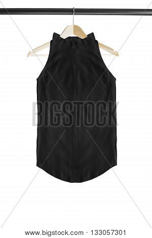 Black top on wooden clothes rack isolated over white