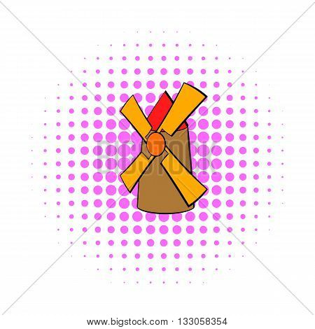Windmill icon in comics style on a white background