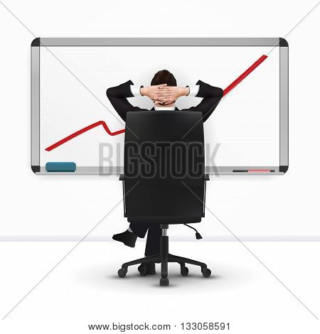 relaxing successful businessman leaning back eps10 vector
