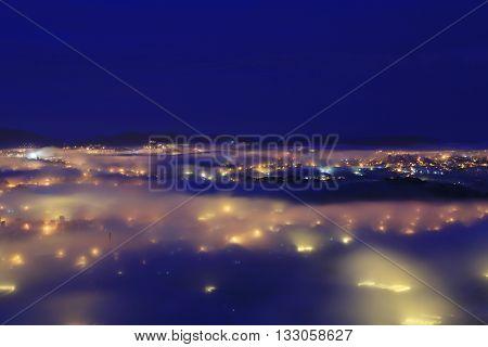 Beautiful City night light in Dalat, Vietnam