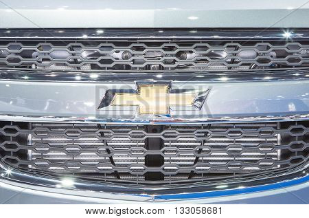Bangkok - March 22 : logo of Chevrolet on bumper - in display at The 37th Bangkok international Motor Show 2016 on March 22 2016 in Bangkok Thailand