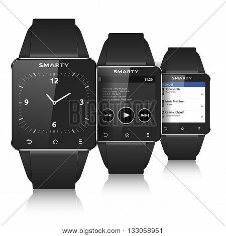 Smart watch set eps10 vectorisolated on white