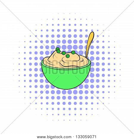 Mashed potatoes in a bowl icon in comics style on a white background