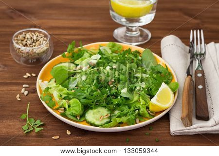 Fresh green salad with various lettuce, cucumber, sunflower seeds and yogurt dressing on wooden table, selective focus