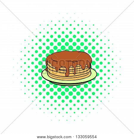 Stack of pancakes with syrup icon in comics style on a white background