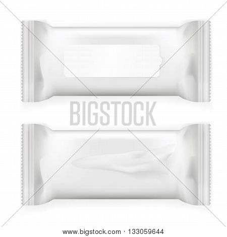 White wet wipes package with flap isolated on white background. Ready for your design. Packaging collection. eps10 vector
